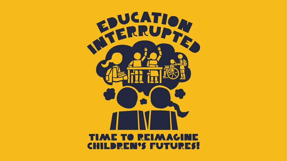 Animation of two children thinking about other children learning with the strapline: Education interrupted - Time to reclaim children's futures!