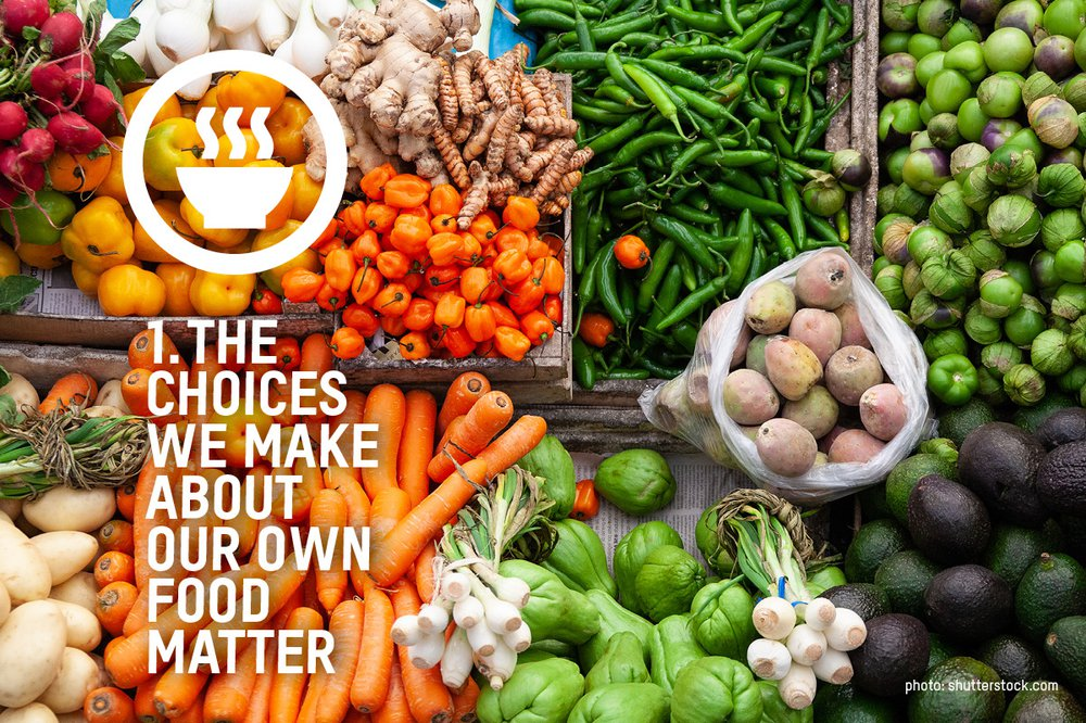 An image of carrots, and green beans and other fresh vegetables with the words 'the choices we make about our own food matter' over the image