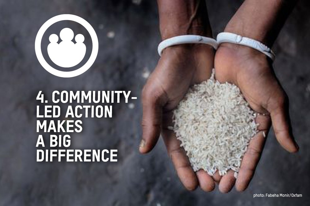 Hands holding rice with the text community-led action makes a big difference over the top