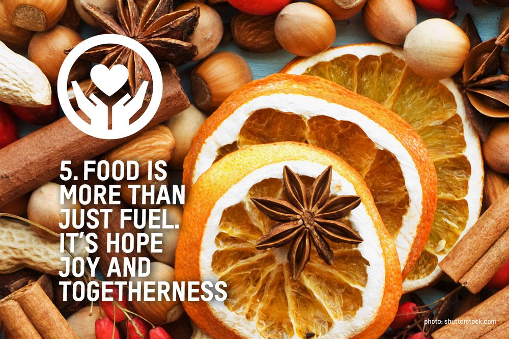 Dried orange slices with star anise and the words 'food is more than just fuel. It is hope, joy and togetherness' over the top of the image