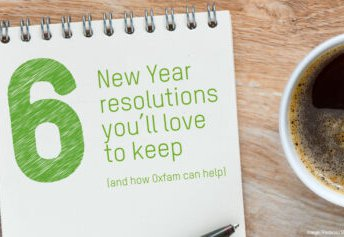 TItle banner with '6 new year's resolutions you'll love to keep (and how Oxfam can help' on it