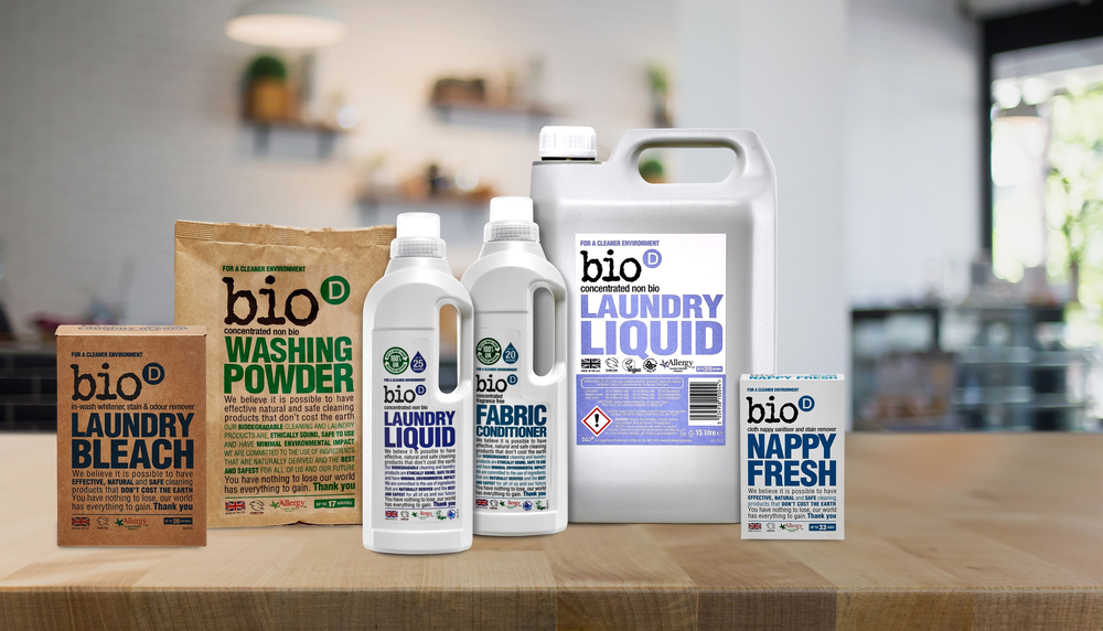 A collection of laundry detergent products from Bio-D