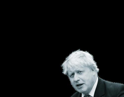 Black and white photo of Boris Johnson