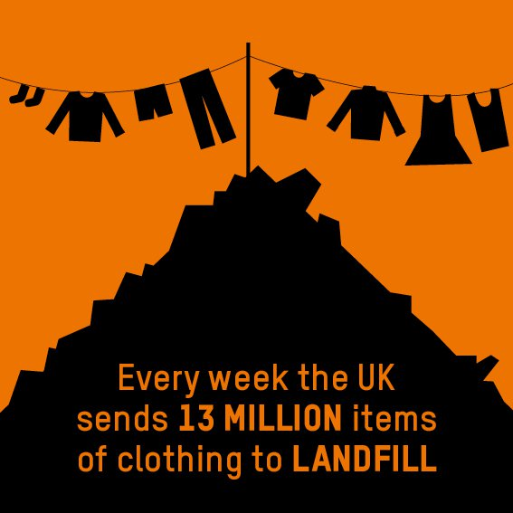 Orange graphic with the statistic '13 million items of clothing go to landfill every week'