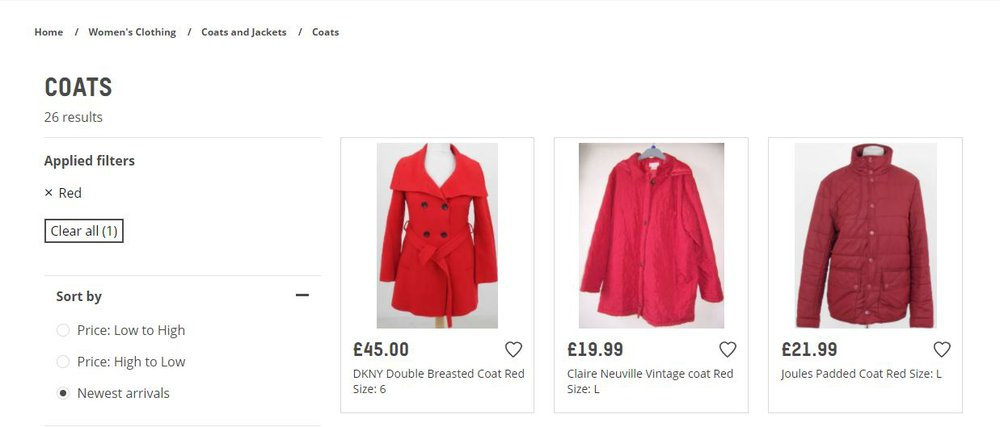 A screenshot of the Oxfam Online Shop showing a selection of red coats after colour filter has been applied