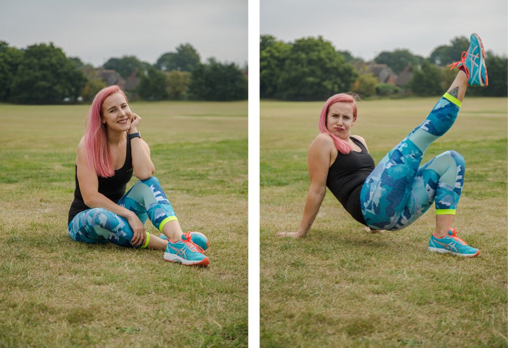 Zara wears blue leggings and a black strap top and kicks the air with blu trainers outside on the grass