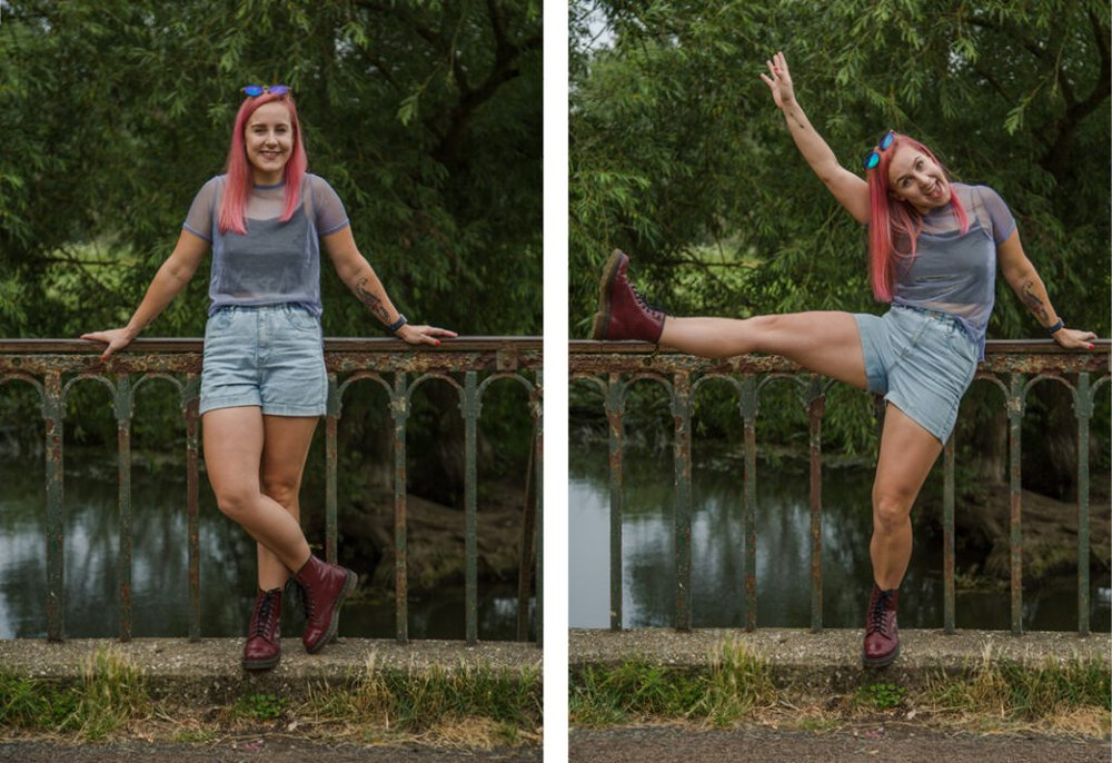 Zara wears shorts a t-shirt and Doc Marten boots on a stone bridge by a river in Oxford.