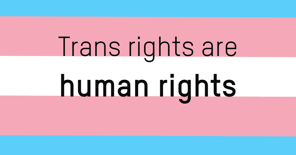 The trans flag with trans rights are human rights written on it