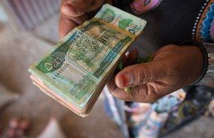 A stack of Somalian banknotes