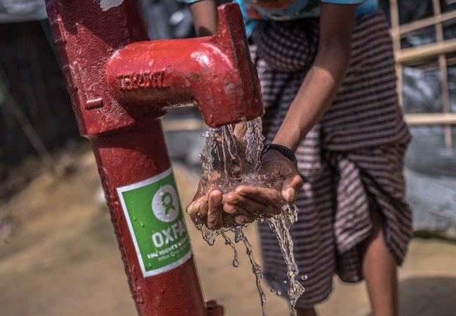 Oxfam water pump in Balukhali Camp