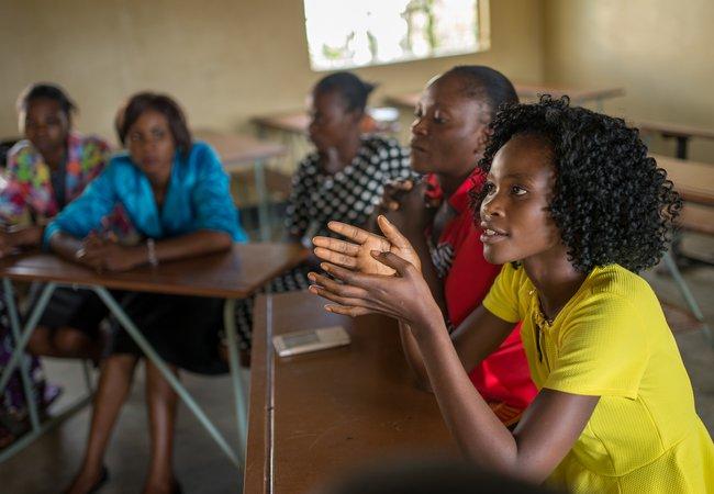Volunteer teachers at Kawama West Community Model School, Mufulira District, Zambia.