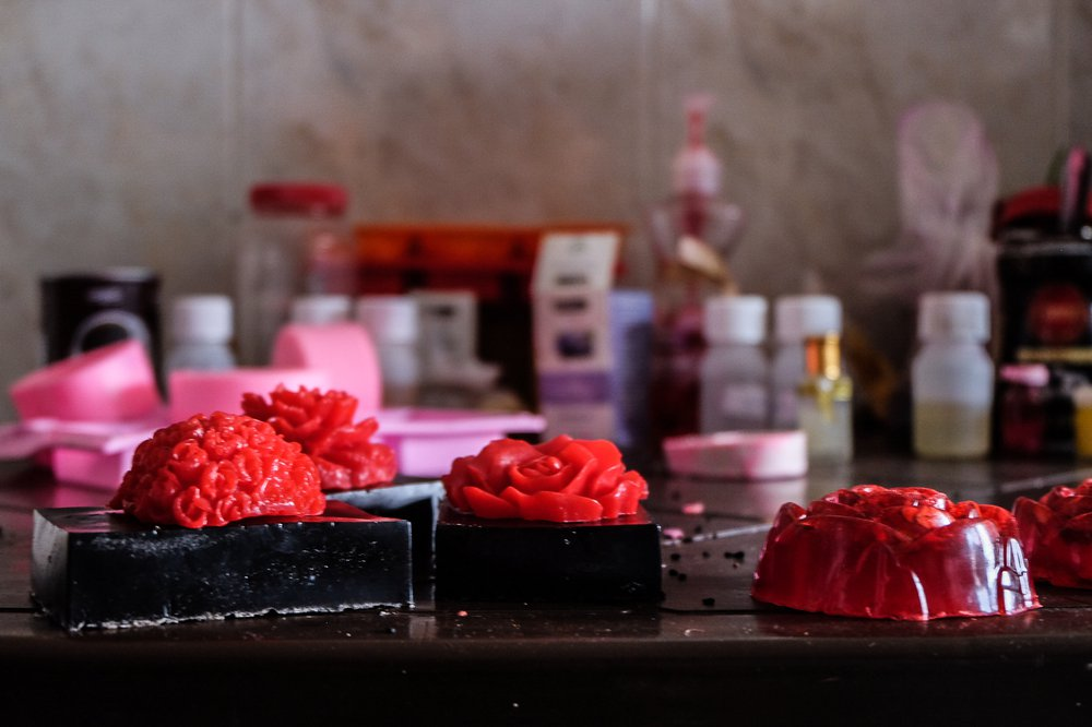 Soaps with bright roses on top