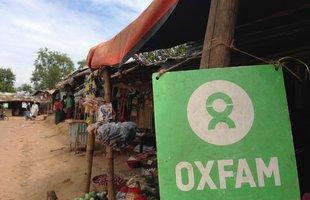 Market stall where refugees can exchange Oxfam vouchers for fresh food