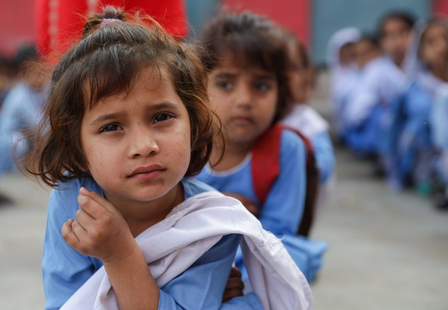 A student at the morning assembly at her school in Multan, Pakistan.