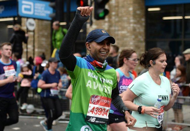 Avnish running for Oxfam during London Marathon 2019.