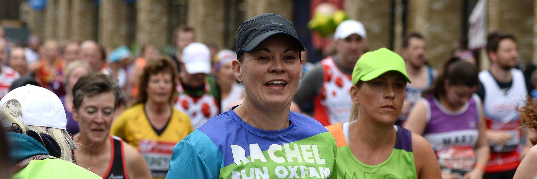 Rachel running for Oxfam during London Marathon 2019.