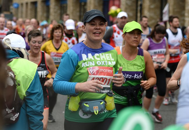 Rachel running for Oxfam during London Marathon 2019.