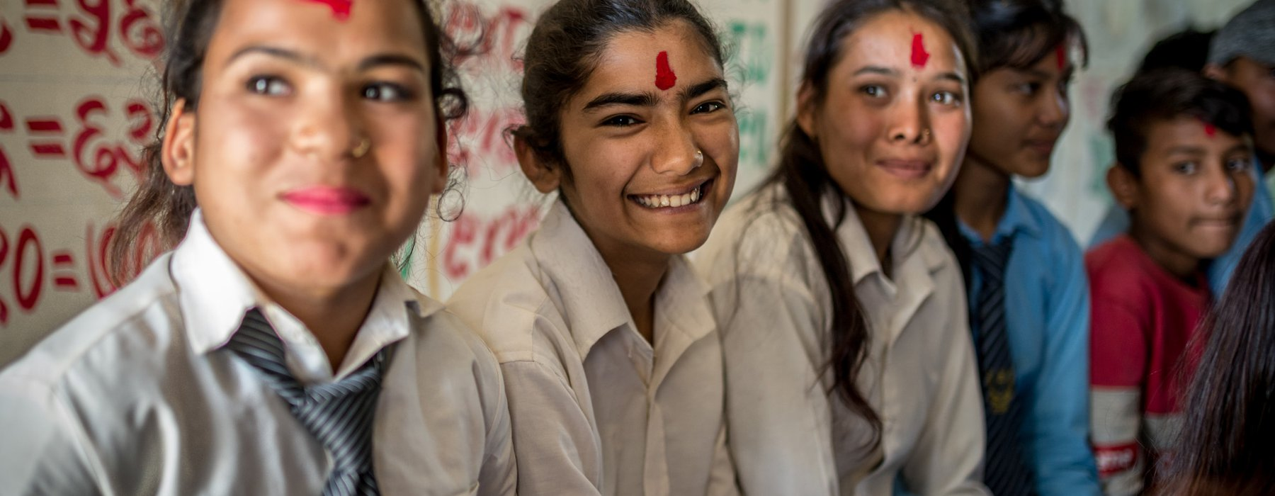 Students of the Child Club at the high school in a village in Nepalgunj district, Nepa