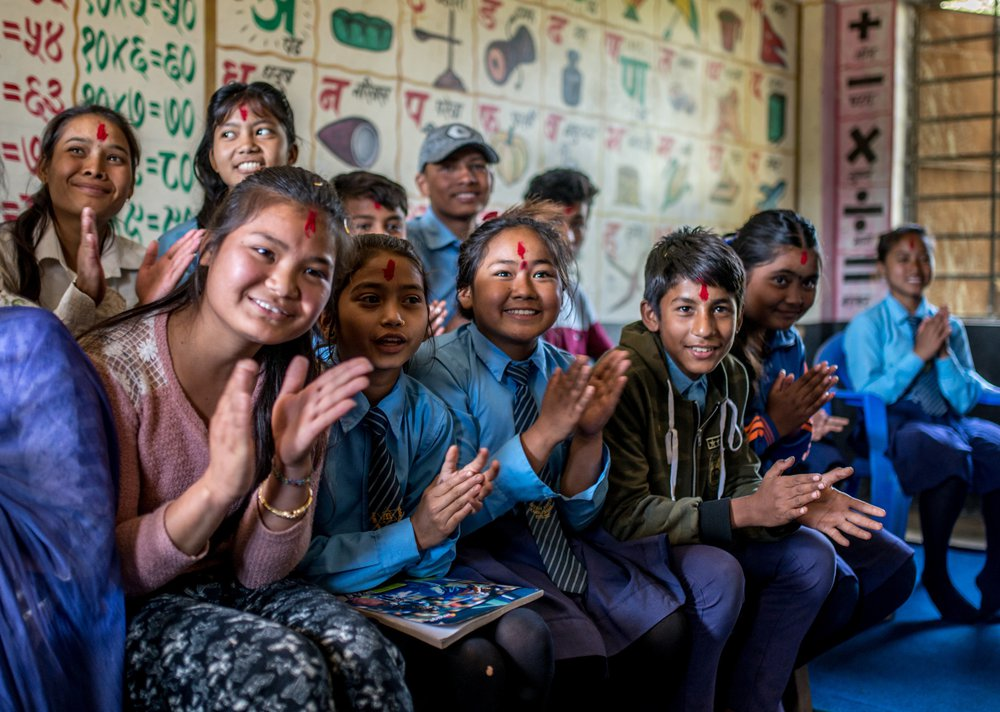 Students of the Child Club at the high school in a village in Nepalgunj district, Nepal