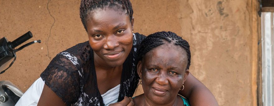 Bekki takes a portrait with her 2nd mother in law Paulina, in Garu, Ghana