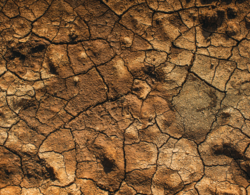 Cracked red earth from above