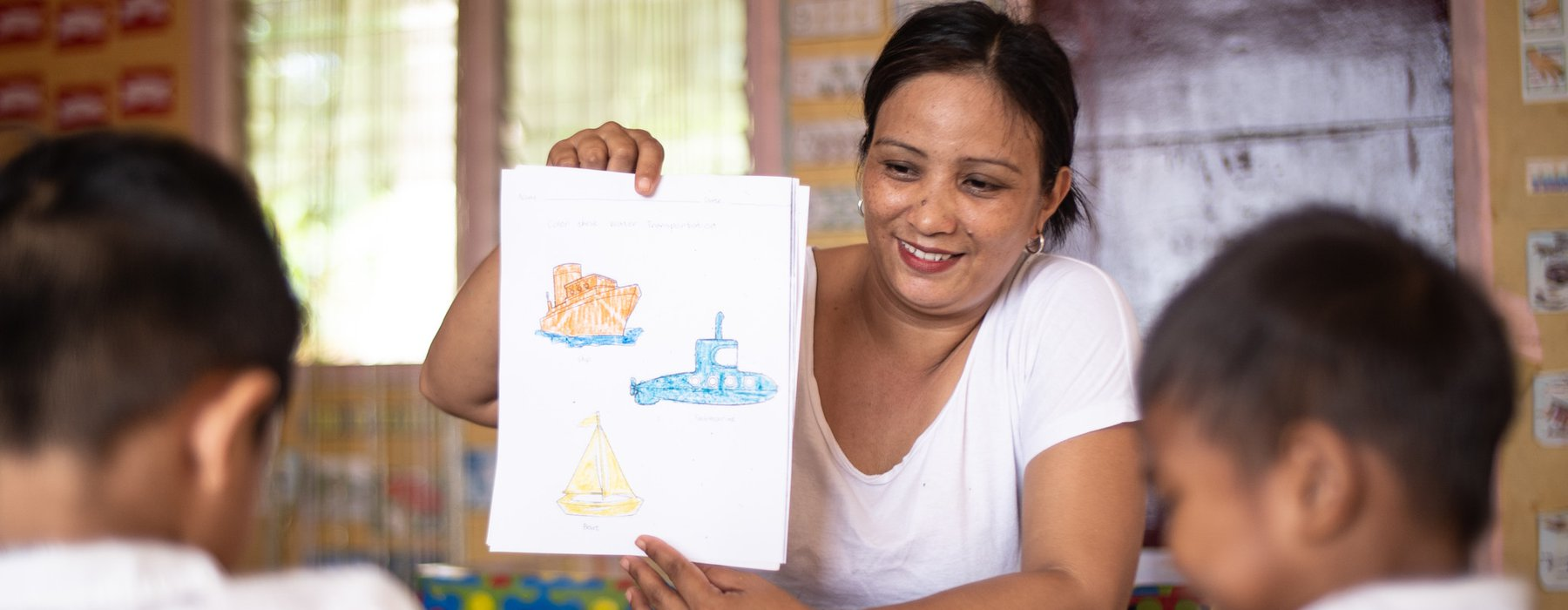 Rowena is a day care teacher in the Philippines