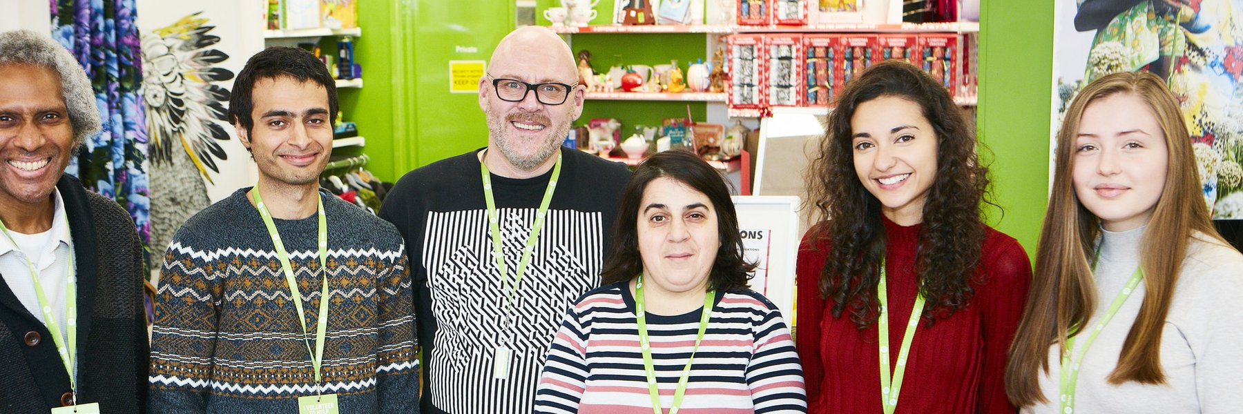 Volunteers and shop manager at Bethnal Green Oxfam shop