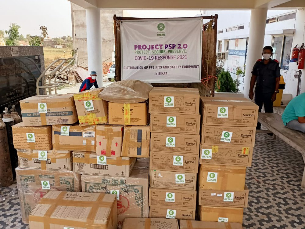 Boxes of Personal Protective Equipment delivered by Oxfam India