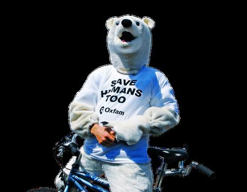 A climate protestor dressed as a polar bear