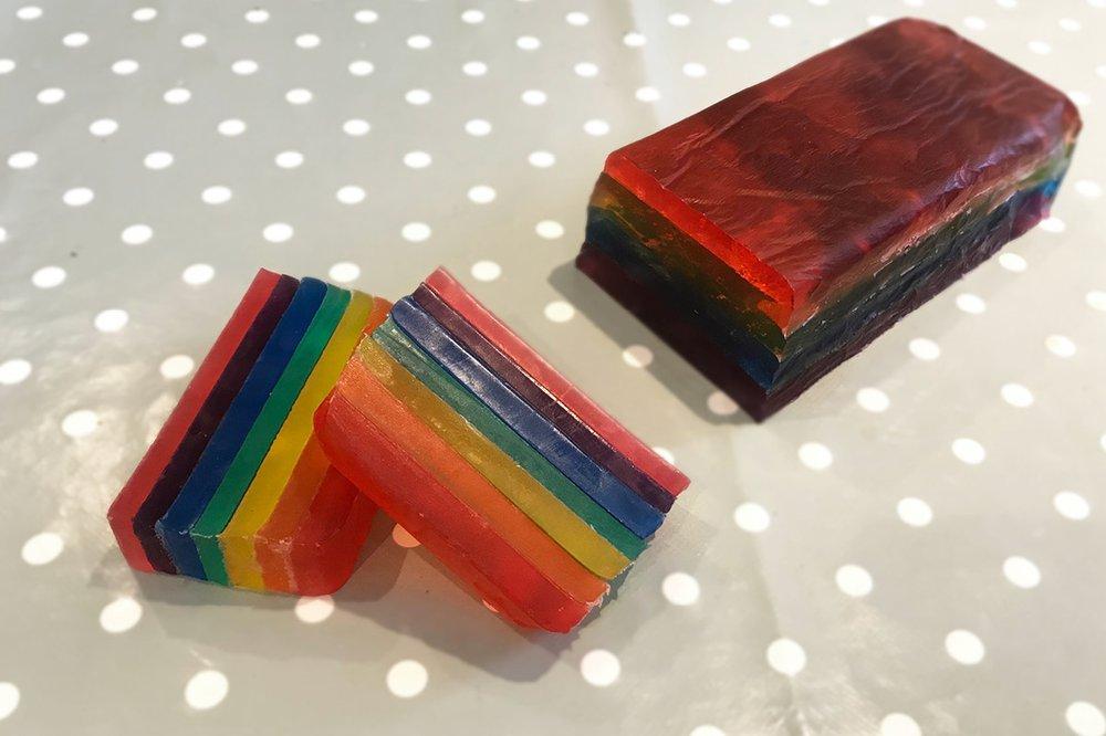 A bar of rainbow coloured soap.