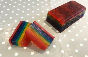 A rainbow coloured soap