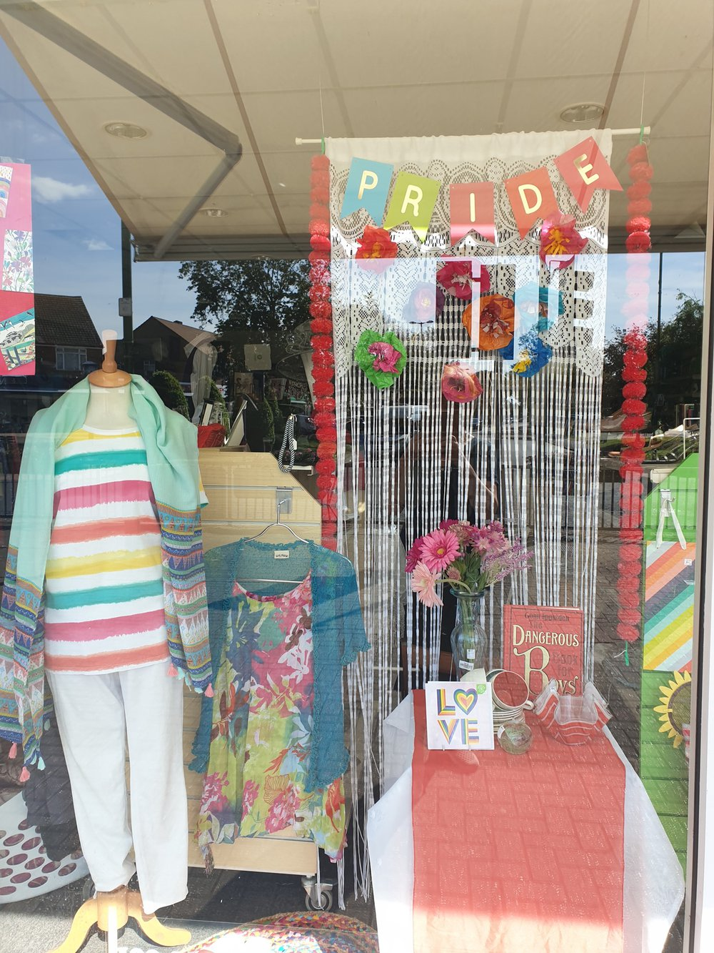 The Rustington Oxfam shop Pride window