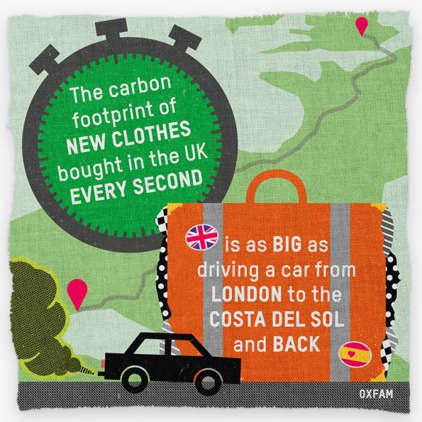 Graphic: The carbon footprint of new clothes bought every second in the UK is the same as driving a car from the UK to the Costa del Sol in Spain and back