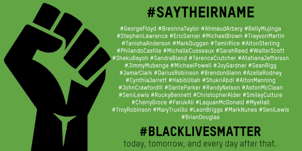 Say their name black lives matter graphic