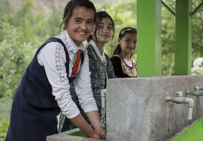 Oxfam has built a new toilet block at this school in Tajikistan, complete with a new handwashing station.