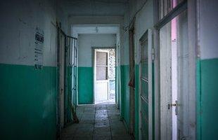 The corridor of a small health clinic in Plavi, Georgia.