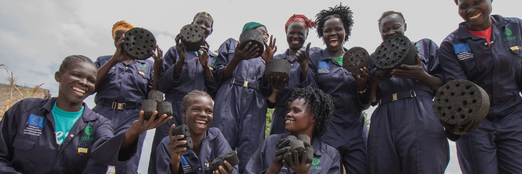 This Women's Group in Uganda make fuel briquettes out of crop waste. This helps provide an income and reduces the use of wood and charcoal. Photo: Elizabeth Stevens/Oxfam
