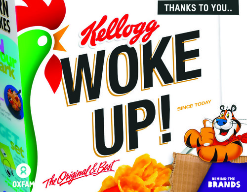 A kellogs cornflakes cereal box with 'woke up!' written on it