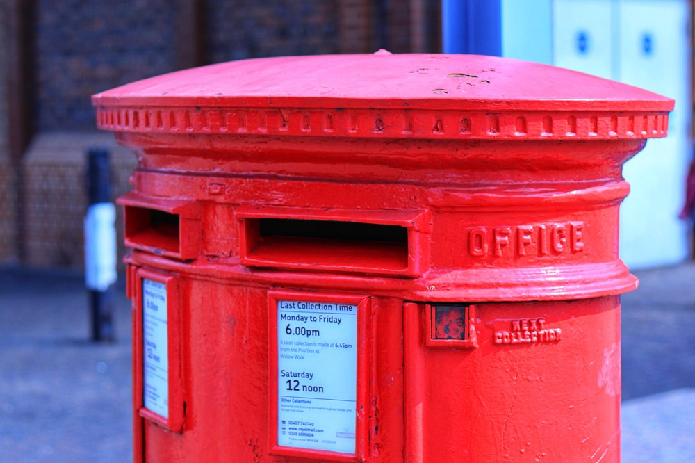 A red double postbox in the UK