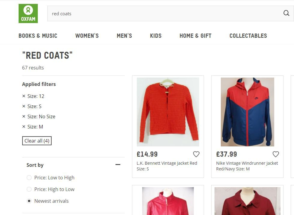 Red coats on the Oxfam Online