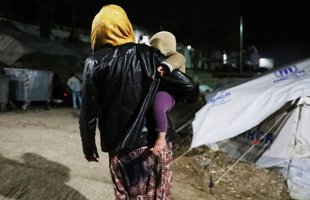 A mother and her child at Moria Refugee camp, Lesbos, Greece