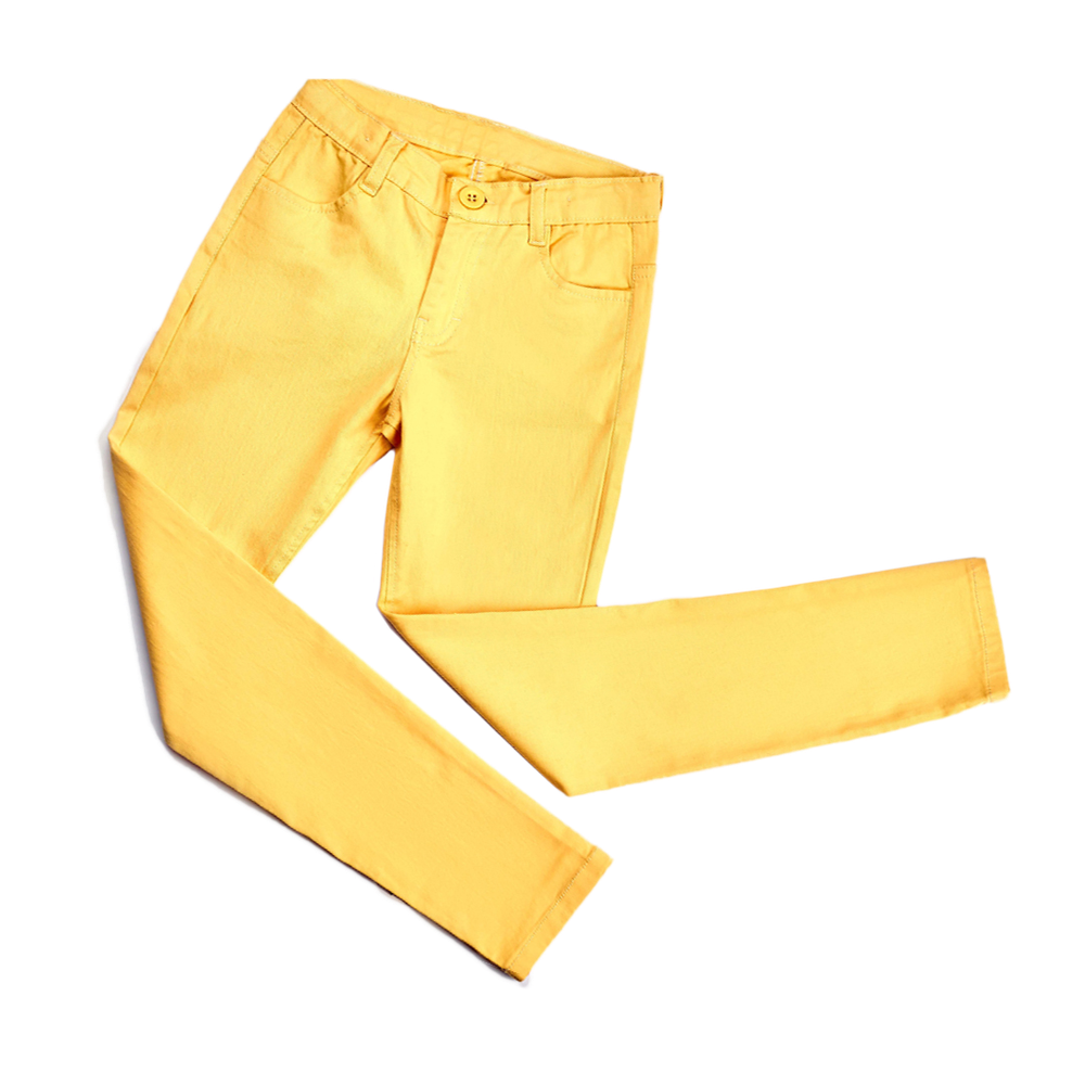 Yellow trousers laid out to look like they're jumping in the air.